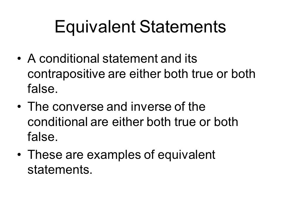 Equivalent Statements