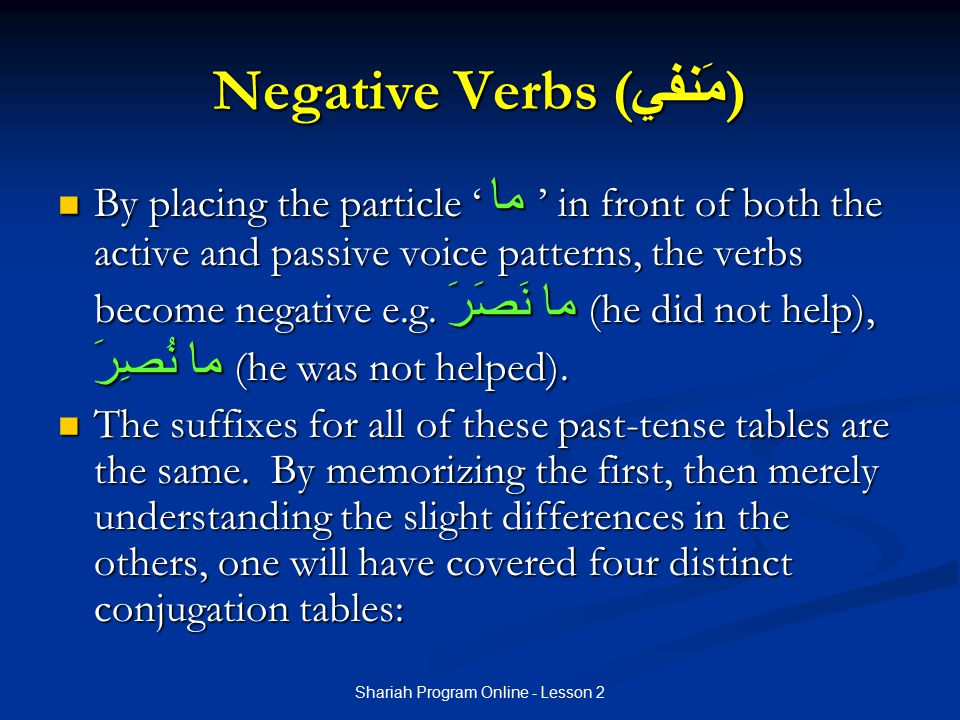 Negative Verbs (مَنفي)