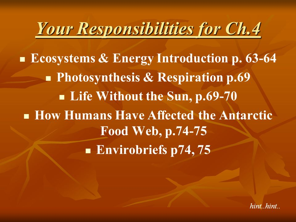 Your Responsibilities for Ch.4