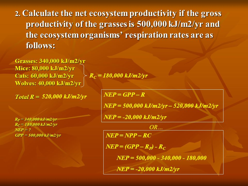 2. Calculate the net ecosystem productivity if the gross productivity of the grasses is 500,000 kJ/m2/yr and the ecosystem organisms' respiration rates are as follows: