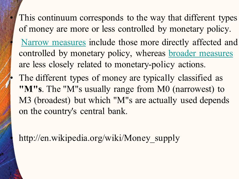 This continuum corresponds to the way that different types of money are more or less controlled by monetary policy.