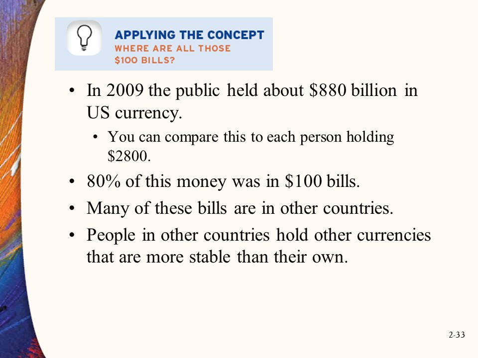 In 2009 the public held about $880 billion in US currency.