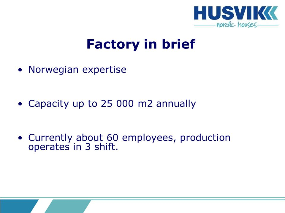 Factory in brief Norwegian expertise Capacity up to 25 000 m2 annually