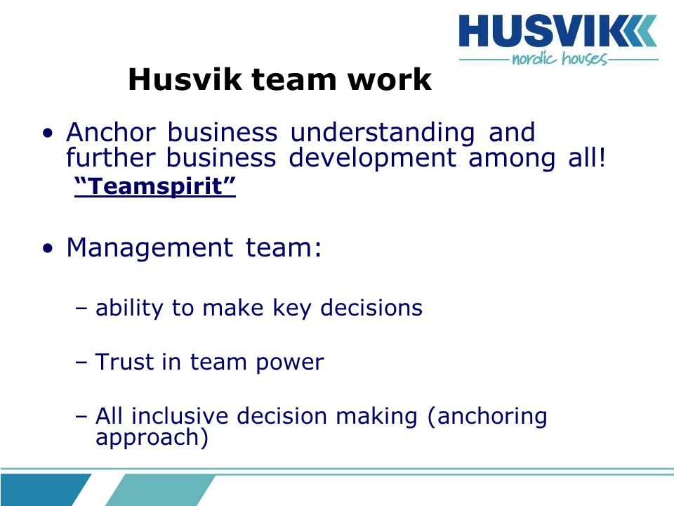 Husvik team work Anchor business understanding and further business development among all! Teamspirit