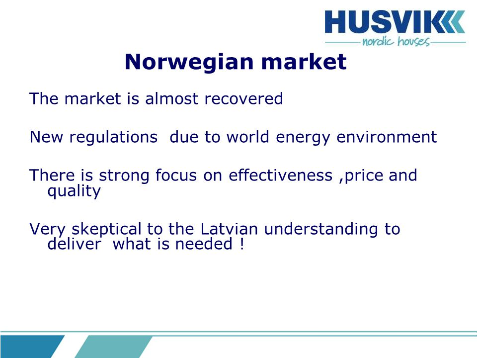 Norwegian market The market is almost recovered