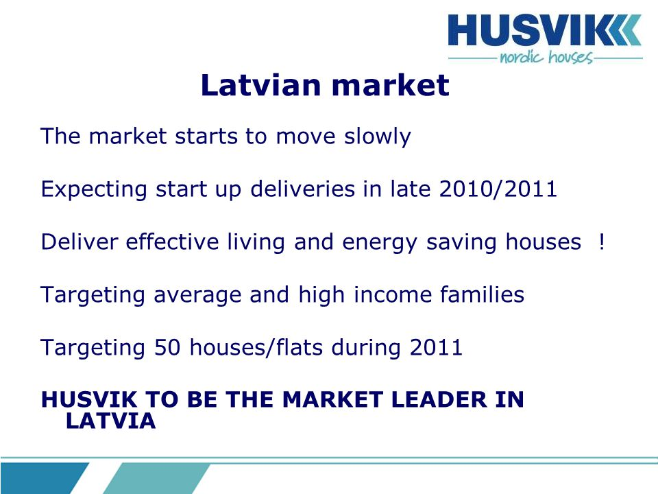 Latvian market The market starts to move slowly