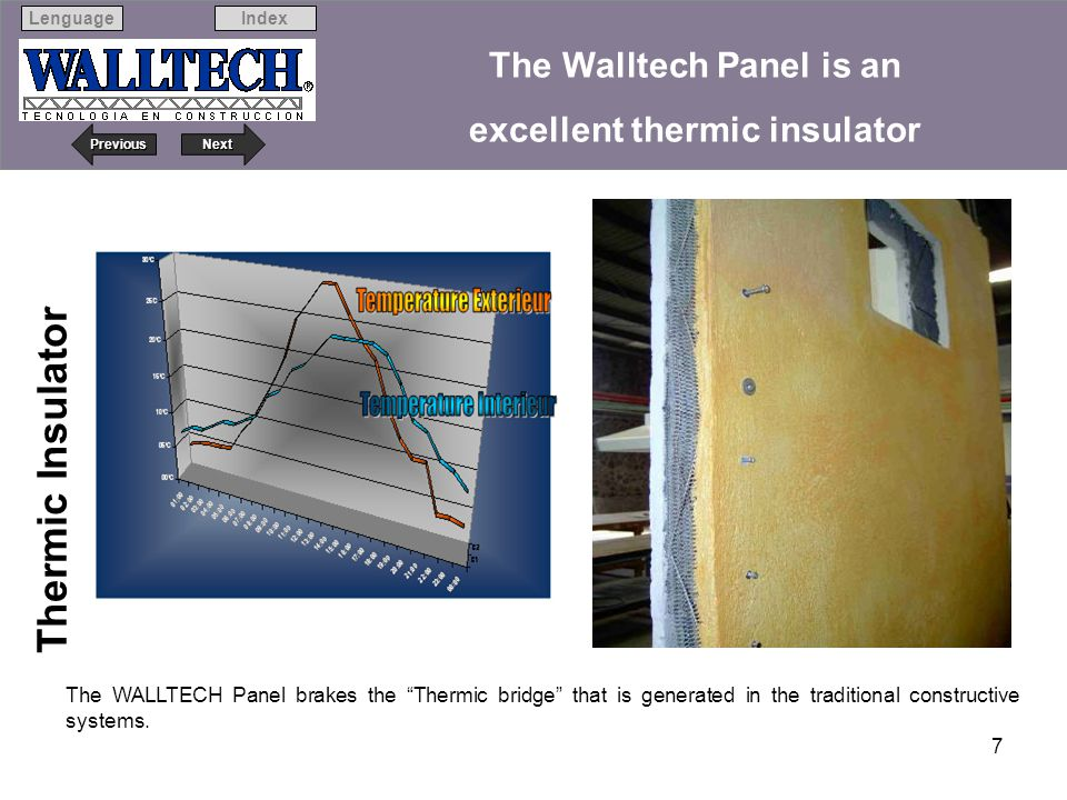 The Walltech Panel is an excellent thermic insulator
