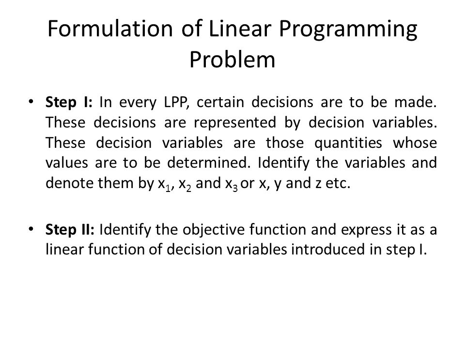 Formulation of Linear Programming Problem