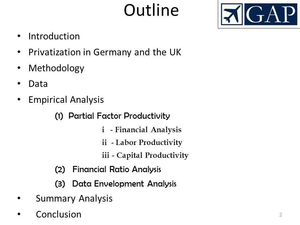 Outline Introduction Privatization in Germany and the UK Methodology