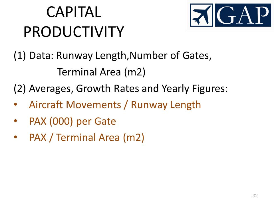 CAPITAL PRODUCTIVITY Data: Runway Length,Number of Gates,