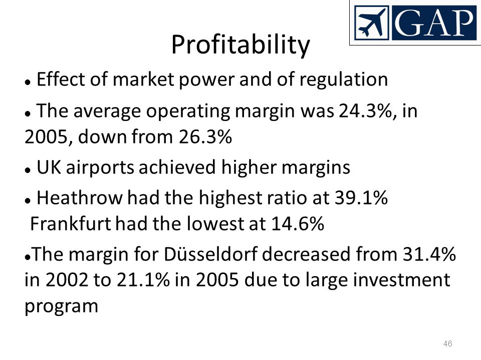 Profitability Effect of market power and of regulation