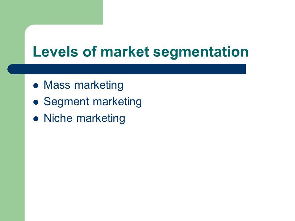 Levels of market segmentation