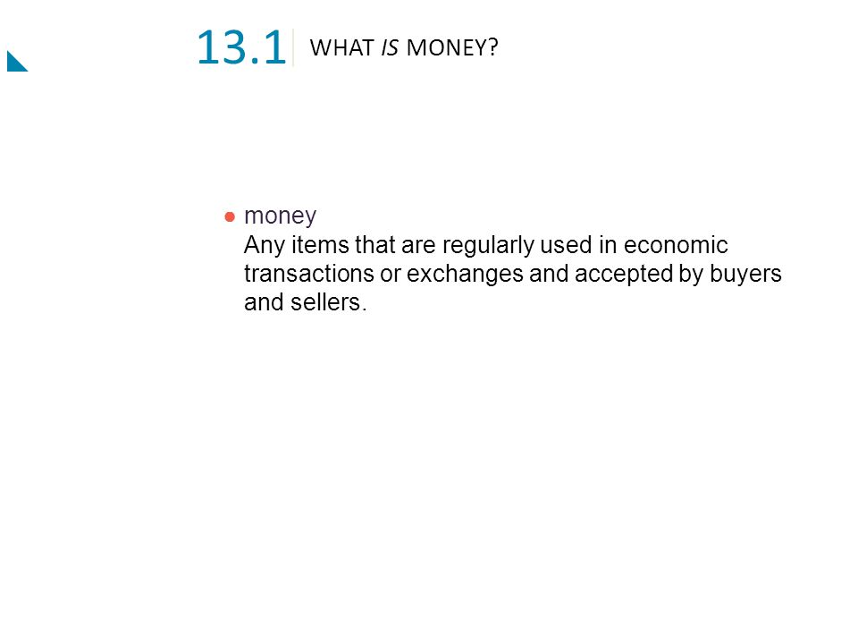 13.1 WHAT IS MONEY.