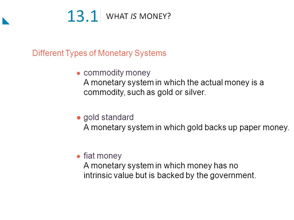 13.1 WHAT IS MONEY Different Types of Monetary Systems