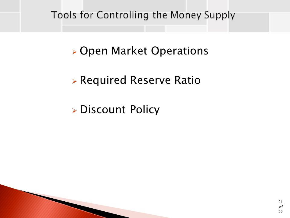 Tools for Controlling the Money Supply