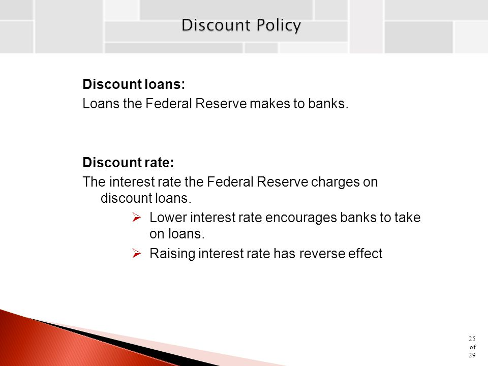 Discount Policy Discount loans: