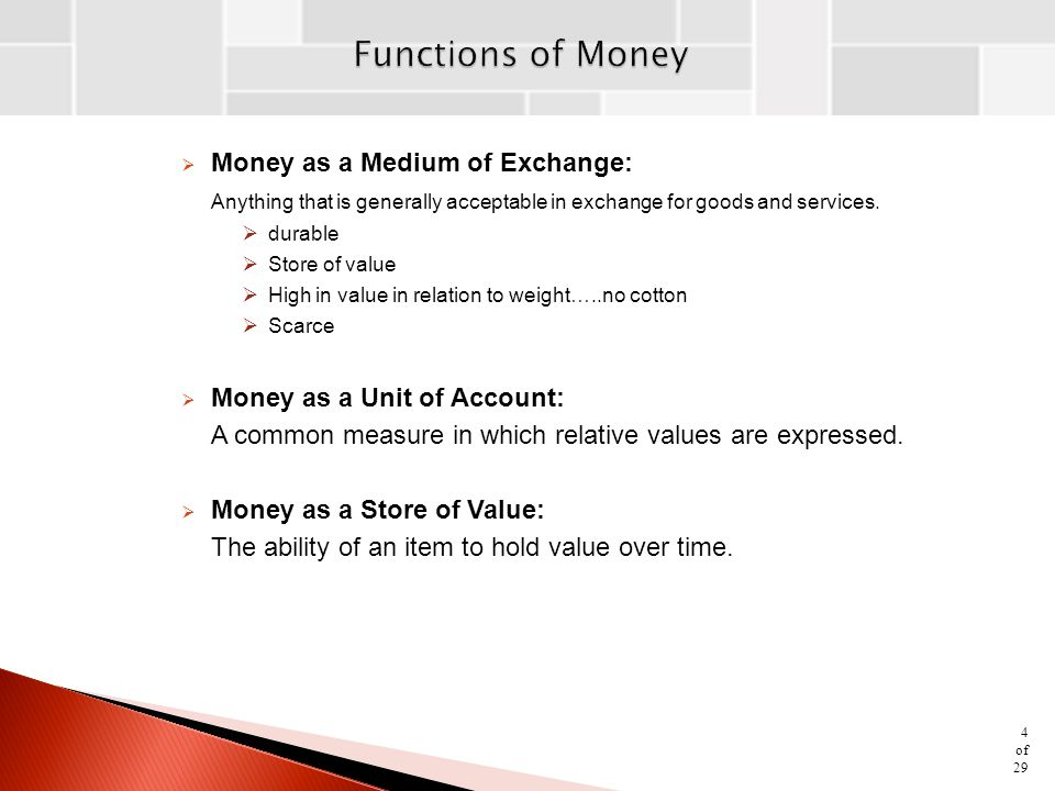 Functions of Money Money as a Medium of Exchange: