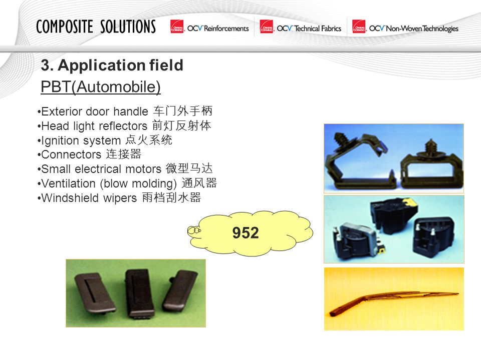 3. Application field PBT(Automobile) 952 Exterior door handle 车门外手柄