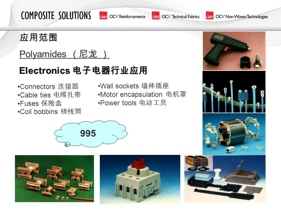 应用范围 Polyamides ( 尼龙 ) Electronics 电子电器行业应用 995 Connectors 连接器