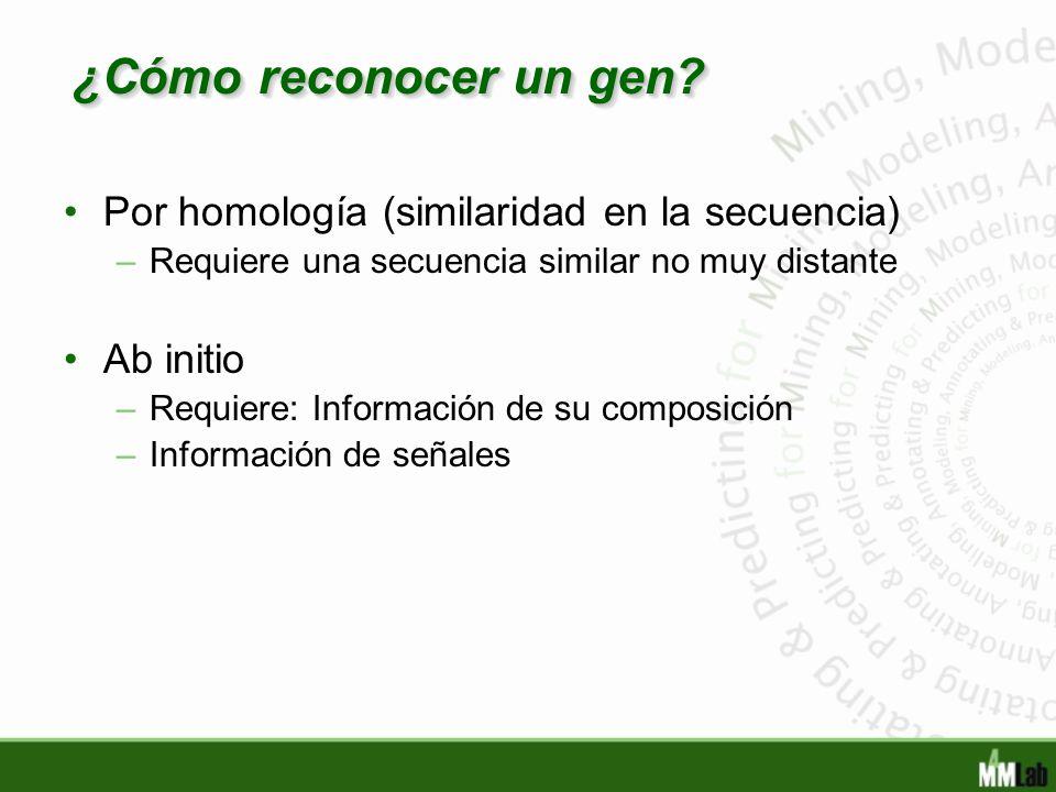 ¿Cómo reconocer un gen Por homología (similaridad en la secuencia)