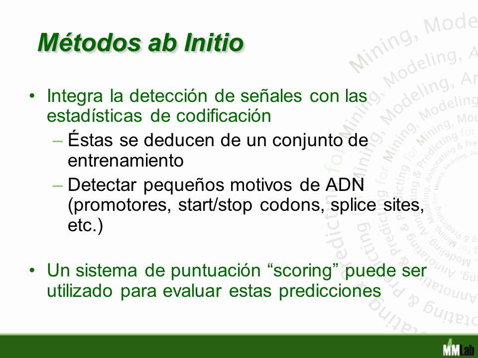 Métodos ab Initio Integra la detección de señales con las estadísticas de codificación. Éstas se deducen de un conjunto de entrenamiento.