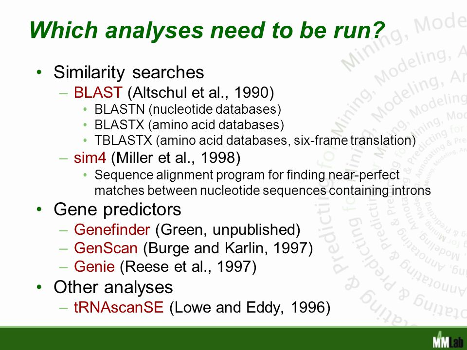 Which analyses need to be run