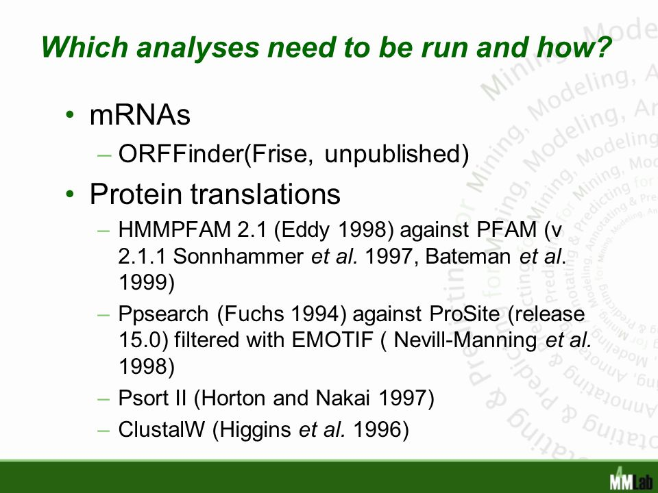 Which analyses need to be run and how