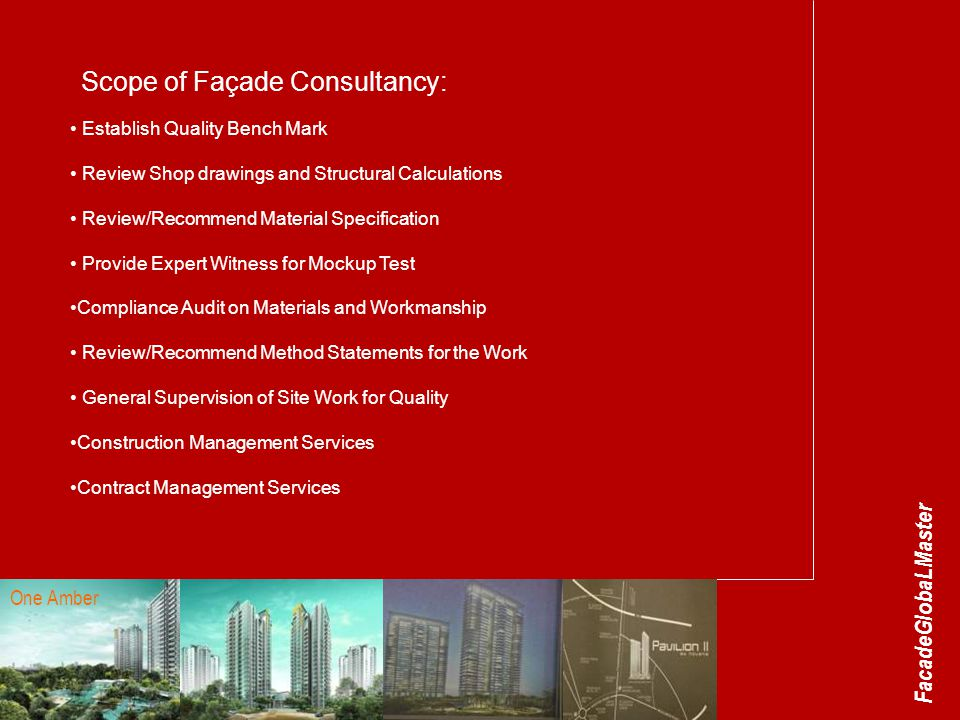 Scope of Façade Consultancy: