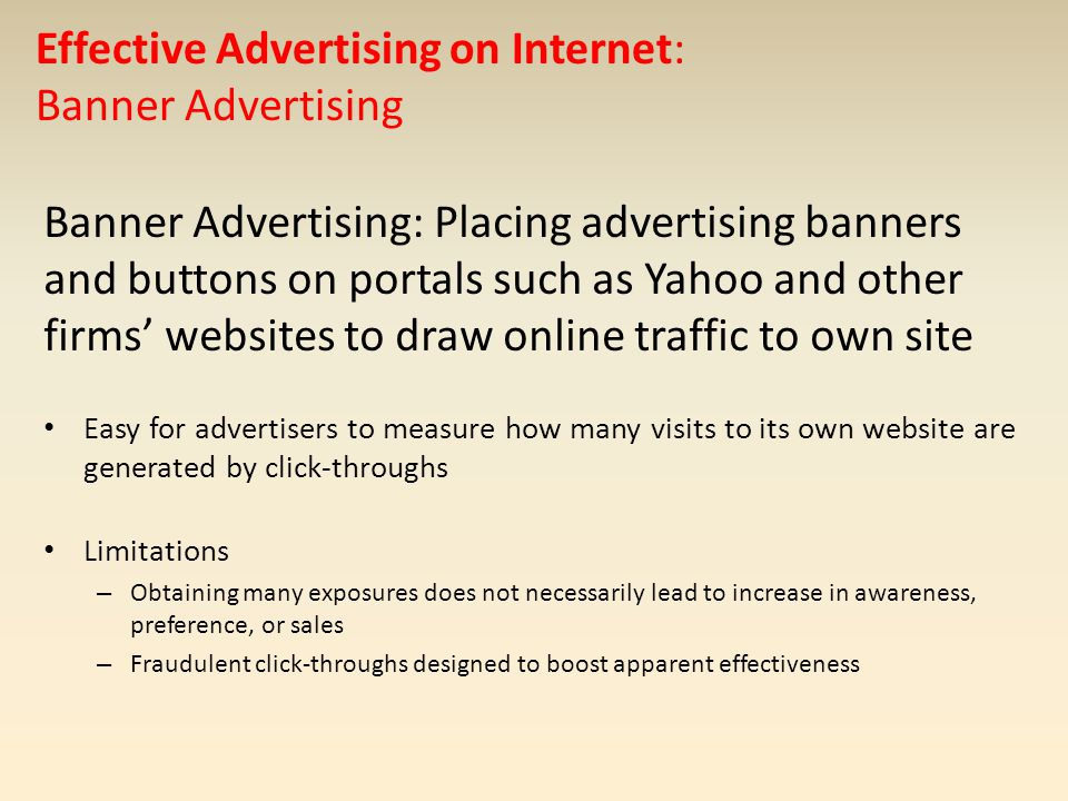 Effective Advertising on Internet: Banner Advertising