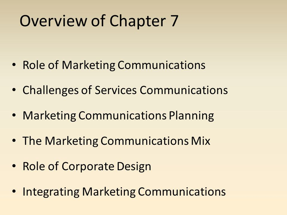 Overview of Chapter 7 Role of Marketing Communications