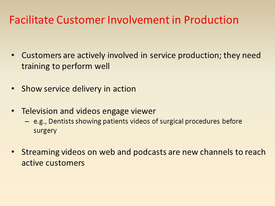 Facilitate Customer Involvement in Production