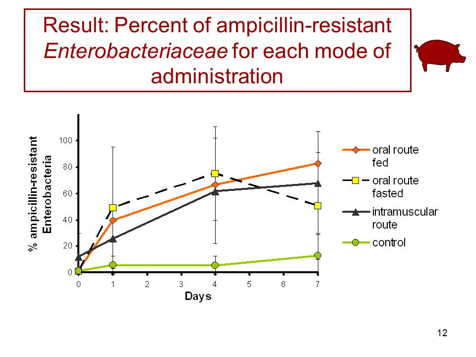 Result: Percent of ampicillin-resistant Enterobacteriaceae for each mode of administration