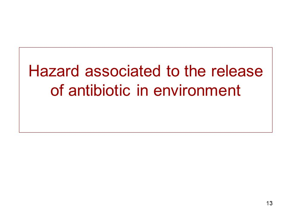 Hazard associated to the release of antibiotic in environment