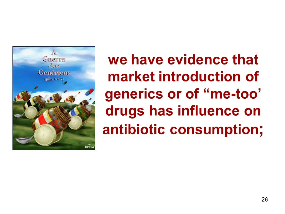 we have evidence that market introduction of generics or of me-too' drugs has influence on antibiotic consumption;