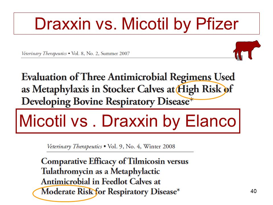 Draxxin vs. Micotil by Pfizer
