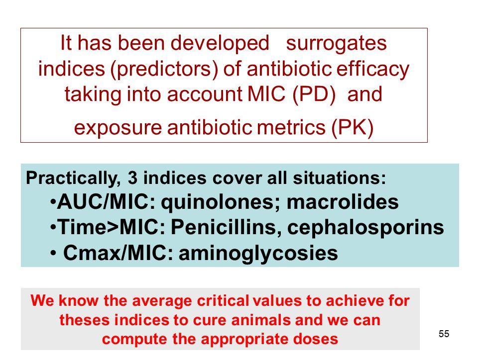 AUC/MIC: quinolones; macrolides