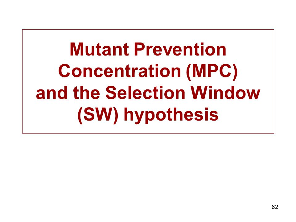 Mutant Prevention Concentration (MPC) and the Selection Window (SW) hypothesis