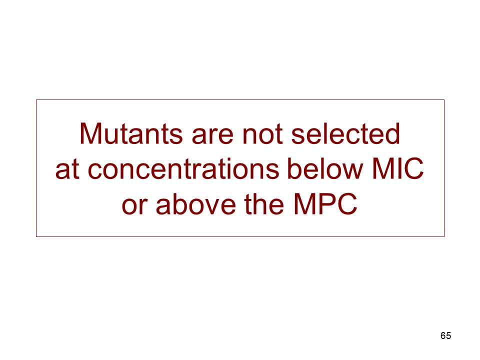 Mutants are not selected at concentrations below MIC or above the MPC
