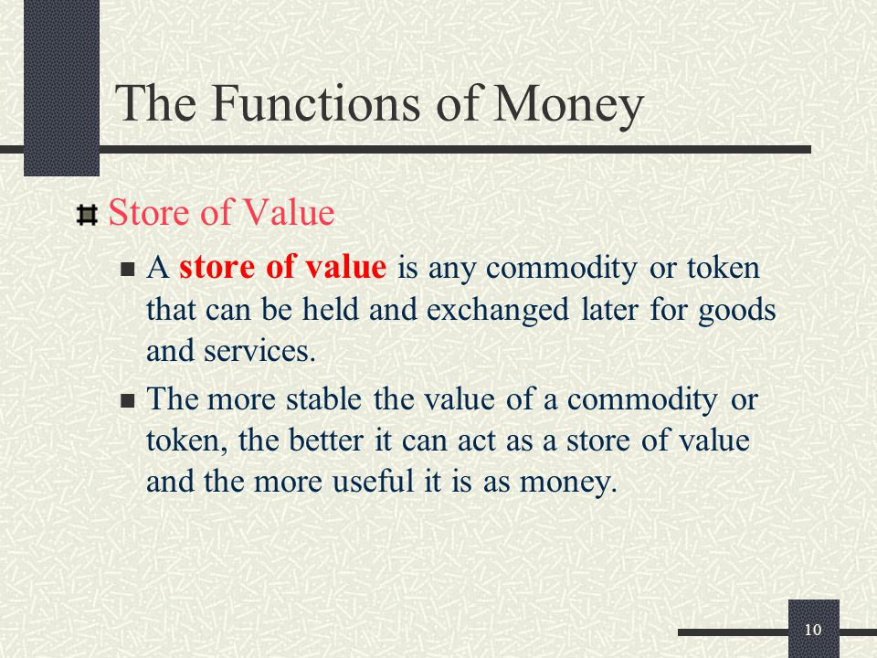 The Functions of Money Store of Value