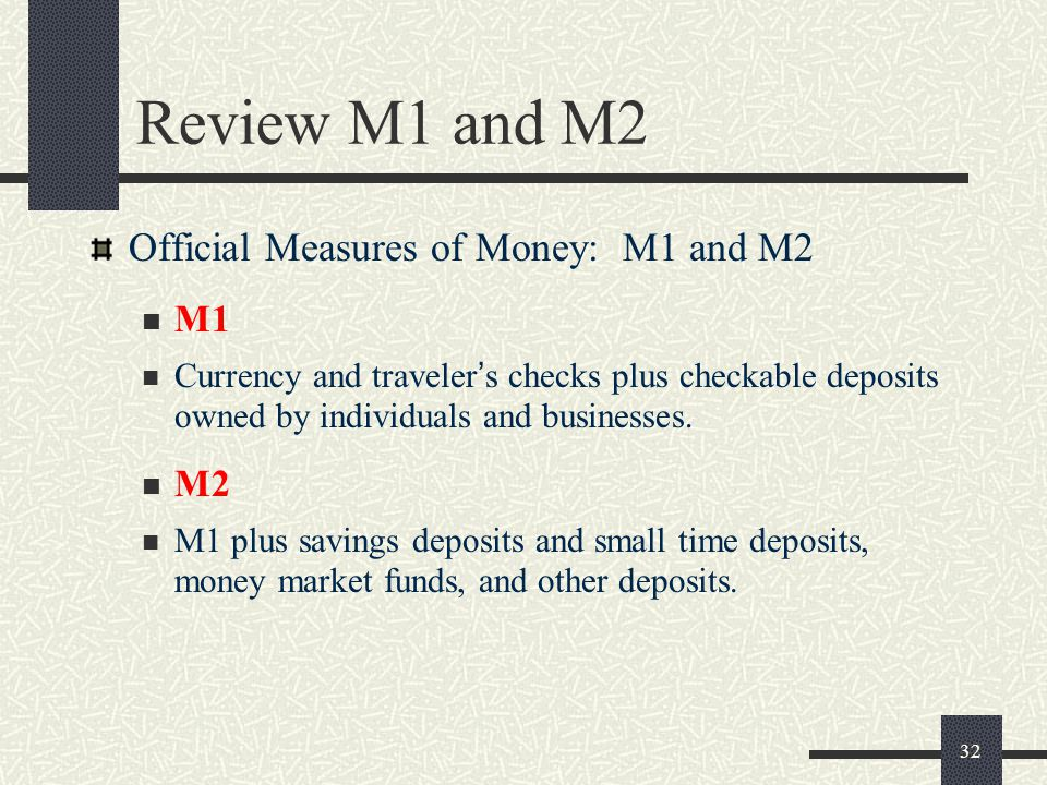 Review M1 and M2 Official Measures of Money: M1 and M2 M1 M2
