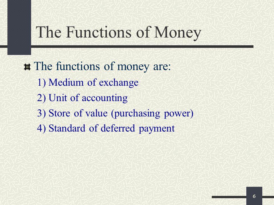 The Functions of Money The functions of money are: