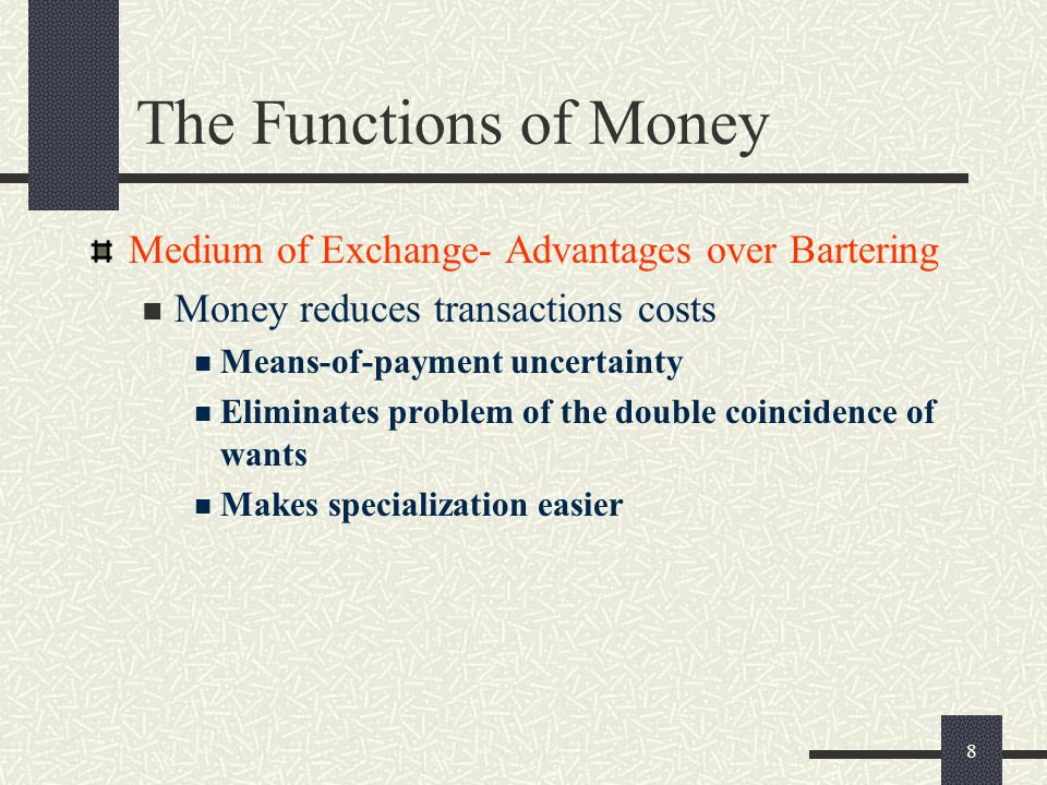 The Functions of Money Medium of Exchange- Advantages over Bartering