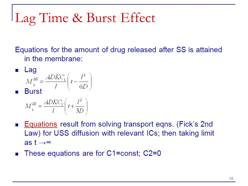 Lag Time & Burst Effect Equations for the amount of drug released after SS is attained in the membrane: