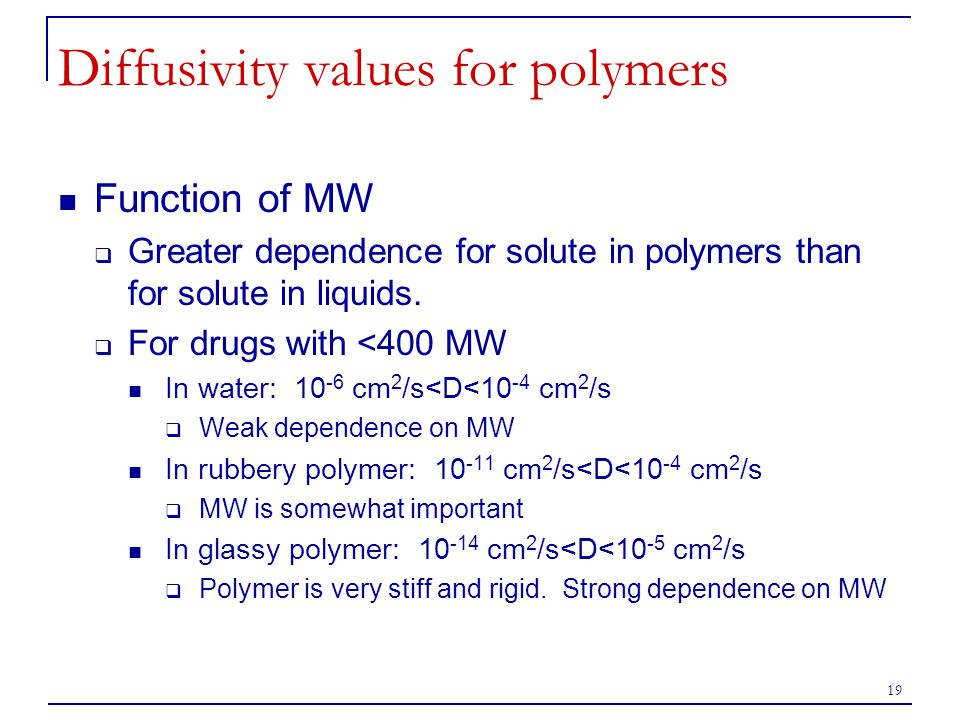 Diffusivity values for polymers