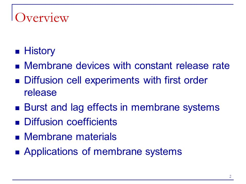 Overview History Membrane devices with constant release rate