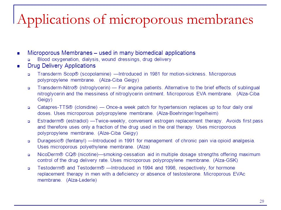 Applications of microporous membranes