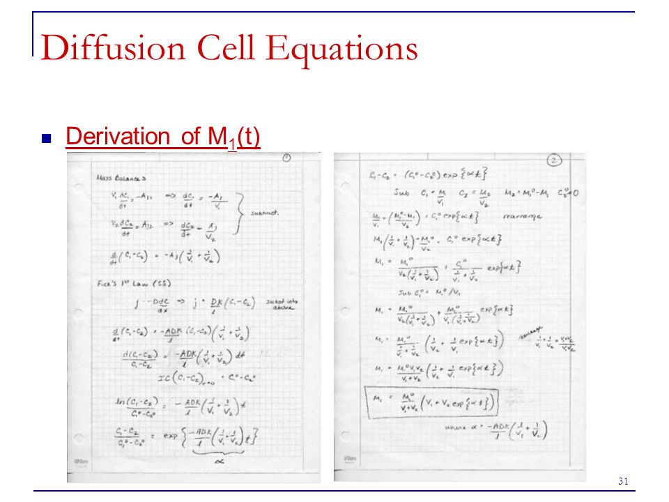 Diffusion Cell Equations