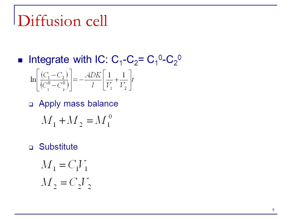 Diffusion cell Integrate with IC: C1-C2= C10-C20 Apply mass balance