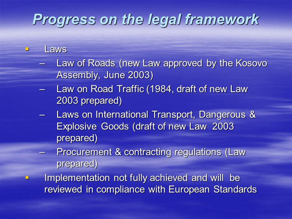 Progress on the legal framework