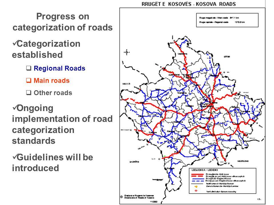 Progress on categorization of roads